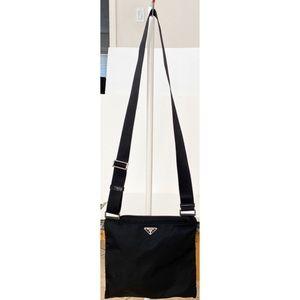 Authentic Prada Black Vela Crossbody Shoulder Bag